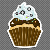 Vector illustration of halloween purple cupcake on white background. Happy halloween scary sweets 1.2 Stock Photography