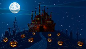 Vector illustration. Halloween. The road to the old castle on the hill, among the pumpkins and cemetery at night. Royalty Free Stock Photo