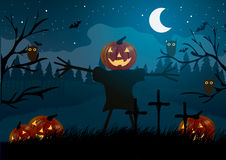 Vector illustration. Halloween. Scarecrow with pumpkin among graveyard, bats and owls. Royalty Free Stock Photo