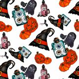 Vector Illustration of a halloween set. Halloween illustration trick or treat Royalty Free Stock Photos