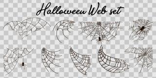 Free Vector Illustration Halloween Spider Web Isolated On Transparent Background. Hector Venom Cobweb Set. Halloween Monochrome Spider Stock Photo - 126375110