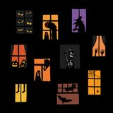 Vector illustration of Halloween windows silhouette set. Royalty Free Stock Images