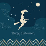 Vector illustration for Halloween. Witch flying on a broom. Can be used for flyers, for the banner or postcard royalty free illustration