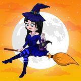 Vector Illustration of a Halloween Witch Flying on a Broomstick.  Stock Photography