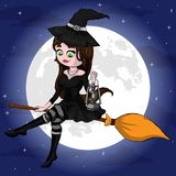 Vector Illustration of a Halloween Witch Flying on a Broomstick. The file is editable and in layers Royalty Free Stock Image