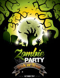 Vector illustration on a Halloween Zombie Party theme Royalty Free Stock Image