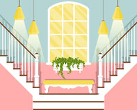 Vector illustration with hallway stairs in flat style. With daybed, window and chandelier stock illustration