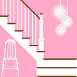 Vector illustration with hallway stairs in flat style Stock Images