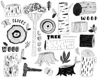 Hand Draw Wood Logs Elements royalty free illustration