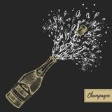 Vector illustration of hand drawing champagne bottle with splash. Vector illustration royalty free illustration