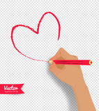 Vector illustration of hand drawing heart. With pencil isolated on transparency background Stock Photo
