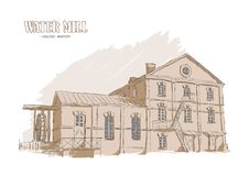 Hand drawing old Water Mill. Outline Sketch. Vector illustration: Hand drawing old Water Mill. Outline Sketch Stock Images
