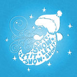 Vector illustration. Hand drawing. Santa Claus with a big beard and a mustache. Postcard Happy New Year and Merry Christmas. Greeting card Let it snow Stock Image