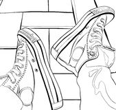Vector illustration of a hand drawing sneakers Royalty Free Stock Photography