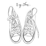 Vector illustration of a hand drawing sneakers Stock Photography