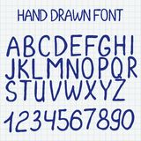 Vector illustration. Hand drawn alphabet with. Vector illustration. Hand drawn blue font. Handsketched alphabet with numbers Stock Photo