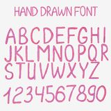 Vector illustration. Hand drawn alphabet with. Vector illustration. Hand drawn red and violet font. Handsketched alphabet with numbers Stock Photography