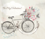 Vector illustration with hand drawn bicycle and flowers Stock Photos