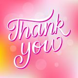 Thank You Brush Lettering Card Template royalty free illustration
