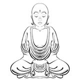 Vector Illustration of hand drawn Buddha on a white background. Stock Image