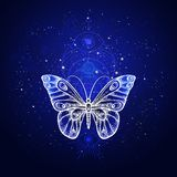 Vector illustration with hand drawn butterfly and Sacred geometric symbol against night starry sky. Abstract mystic sign. Linear shape. For you design or magic vector illustration