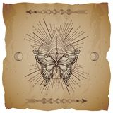 Vector illustration with hand drawn butterfly and Sacred geometric symbol on old paper background with torn edges. Abstract mystic. Sign. Sepia linear shape stock illustration