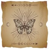 Vector illustration with hand drawn butterfly and Sacred geometric symbol on old paper background with torn edges. Abstract mystic. Sign. Sepia linear shape vector illustration