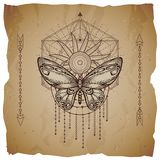 Vector illustration with hand drawn butterfly and Sacred geometric symbol on old paper background with torn edges. Abstract mystic. Sign. Sepia linear shape royalty free illustration