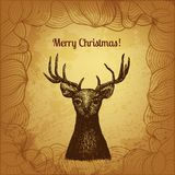 Vector illustration with hand drawn Christmas deer Stock Photo