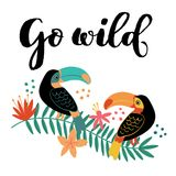 Go Wild Toucan on Branch vector illustration