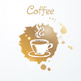 Vector illustration of hand drawn cup of coffee on brown watercolor stain. Royalty Free Stock Photography