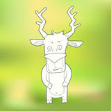 Vector Illustration Hand-drawn cute deer on Stock Image