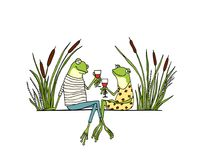 Hand drawn frogs. Vector illustration of hand drawn cute frog couple drinking wine on a date. Beautiful design elements, ink drawing, funny romantic illustration Stock Image