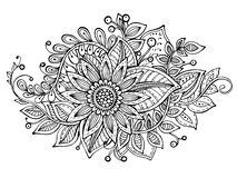 Vector illustration with hand drawn doodle fancy flowers bouquet Stock Photos