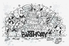 Vector illustration of a hand-drawn doodles on a theme birthday Stock Photos