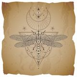 Vector illustration with hand drawn dragonfly and Sacred geometric symbol on vintage paper background with torn edges. Abstract my. Stic sign. Sepia linear shape royalty free illustration