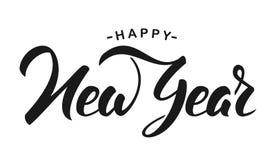 Vector illustration. Hand drawn elegant modern brush lettering of Happy New Year isolated on white background.  royalty free illustration