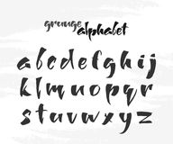 Vector illustration: Hand Drawn English grunge alphabet letters on white textured background. Ruling pen font Royalty Free Stock Photography