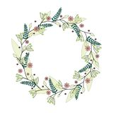 Vector illustration. Hand drawn floral wreath isolated on white background. stock illustration