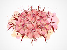 Vector illustration with hand drawn  flowers, leaves and branches with textured watercolor elements. Royalty Free Stock Image
