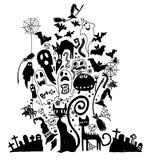 Vector illustration of hand-drawn Halloween doodles. vector illu Royalty Free Stock Photos