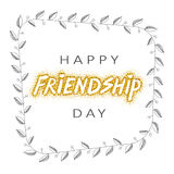 Vector illustration of hand drawn happy friendship day felicitation. In fashion style with lettering text sign on gold background stock illustration