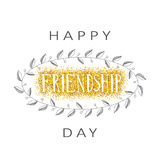 Vector illustration of hand drawn happy friendship day felicitation. In fashion style with lettering text sign on gold glittering sparkling shiny background and stock illustration