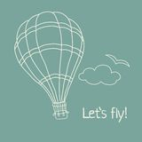 Vector illustration of hand drawn hot air balloon Stock Photography