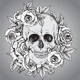 Vector illustration with hand drawn human skull with rose flower Royalty Free Stock Images