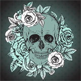 Vector illustration with hand drawn human skull, rose flowers Royalty Free Stock Images