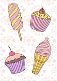 Vector illustration of hand-drawn ice cream, cakes. On the background of seamless pattern Stock Photography