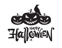 Vector illustration: Hand drawn lettering composition of Happy Halloween with pumpkins, raven and spider.  Royalty Free Stock Photos