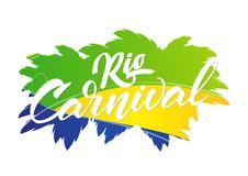 Vector illustration: Hand drawn lettering composition of Rio Carnival on background of Brazilian colors.  Stock Photos
