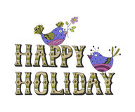 Vector illustration: Hand drawn lettering of Happy Holidays with birds bullfinch Royalty Free Stock Photos